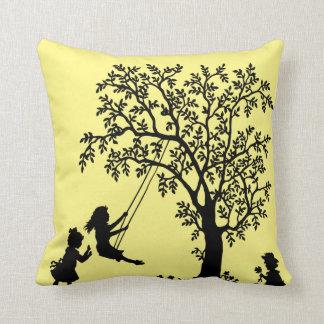 Black yellow Abstract Tree kids playing pillow Cushion