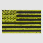 Black & Yellow American USA Flag Grunge Stickers