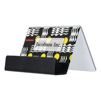 Black Yellow and Red Abstract Business Card Holder