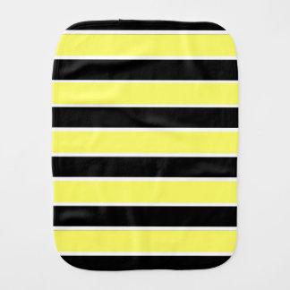 Black, Yellow and White Stripes Burp Cloth