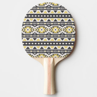 Black yellow aztec tribal hobo pattern ping pong paddle