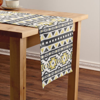 Black yellow aztec tribal hobo pattern short table runner