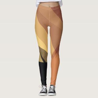 Black Yellow Brown Modern Geometric Pattern Leggings