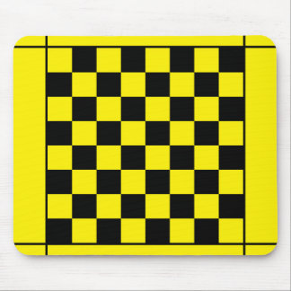 Black yellow chess table mouse mat