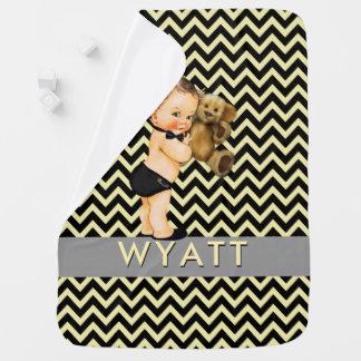 Black & Yellow Chevron Prince Personalized Nursery Baby Blanket