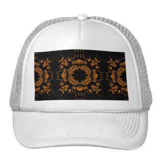 Black, Yellow copper Floral Damasks Retro Pattern Hat