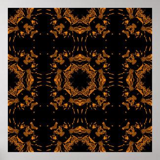 Black, Yellow copper Floral Damasks Retro Poster