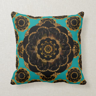 Black Yellow Gold Mandala Design - Aqua Cushion
