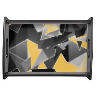 Black Yellow Grey Cubism Decor Serving Tray