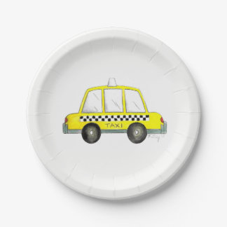 Black Yellow NYC New York City Taxi Cab Car Paper Plate