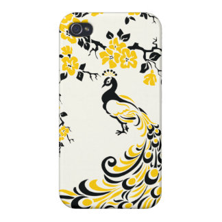 Black, yellow, peacock and cherry blossoms custom iPhone 4 covers