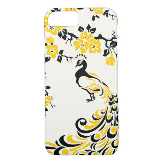 Black, yellow peacock & cherry blossoms iPhone 7 case