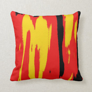 Black Yellow Red Retro Abstract Art Deco Cushion