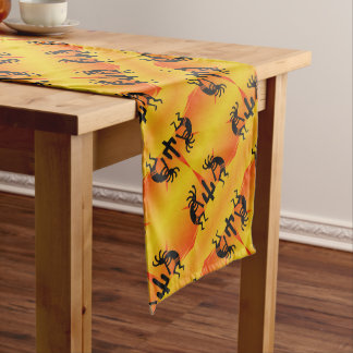 Black & Yellow Southwest Kokopelli Pattern Long Table Runner