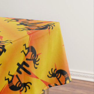 Black & Yellow Southwest Kokopelli Pattern Tablecloth