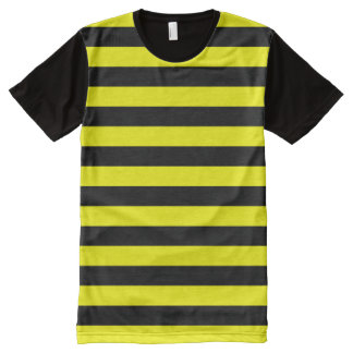 Black & Yellow Stripes Pattern All-Over Print T-Shirt