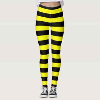Black & Yellow Stripes Pattern Leggings