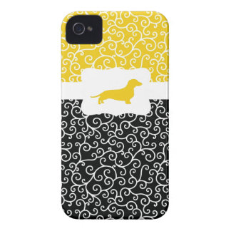 Black&Yellow Swirls w/Dachshund iPhone 4 Case