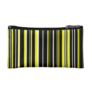 Black, Yellow, White Barcode Stripe Makeup Bags