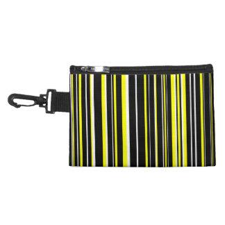 Black, Yellow, White Barcode Stripe Accessories Bags
