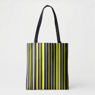 Black, Yellow, White Barcode Stripe Tote Bag
