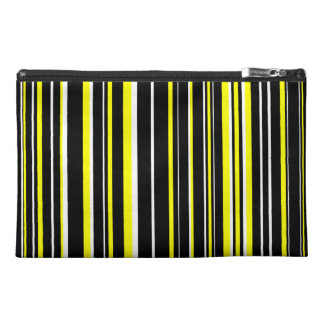 Black, Yellow, White Barcode Stripe Travel Accessory Bag