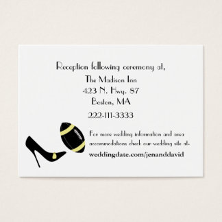 Black, Yellow, & White Football Wedding Enclosures Business Card