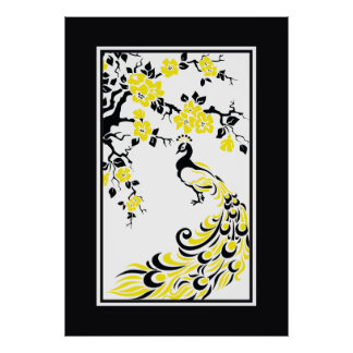 Black, yellow, white peacock and cherry blossoms poster