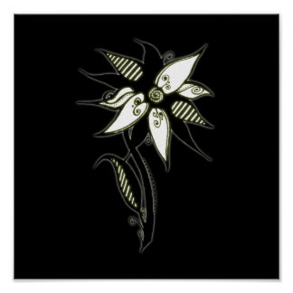 Black Yellow White Swirly Flower by Naomi Posters