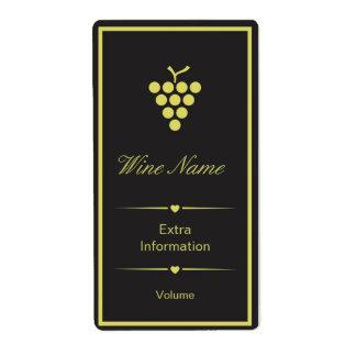 Black Yellow Wine Label