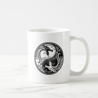Black Yin Yang Dragons Coffee Mugs