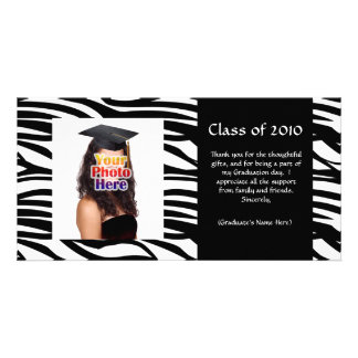 Black Zebra Graduation Thank You or Announcement Photo Cards