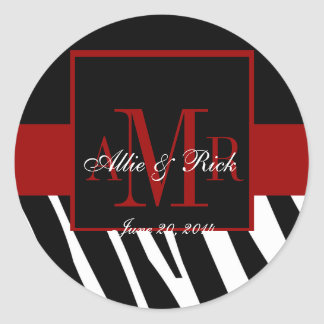 Black Zebra Monogram Names Wedding Favour Labels Round Sticker