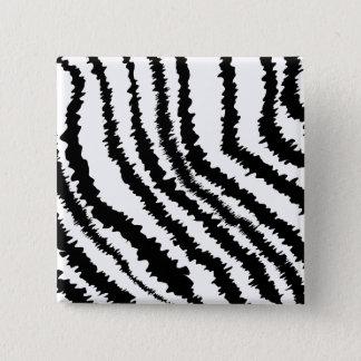 Black Zebra Print Pattern. 15 Cm Square Badge
