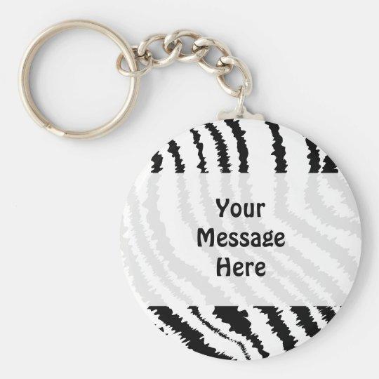 Black Zebra Print Pattern. Basic Round Button Key Ring