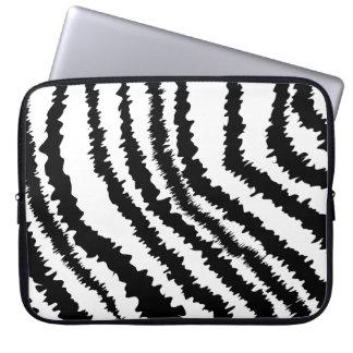 Black Zebra Print Pattern. Laptop Sleeve