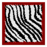 Black Zebra Print Pattern on Deep Red.