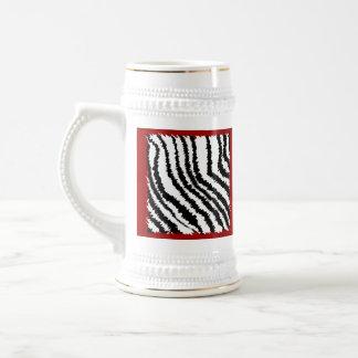 Black Zebra Print Pattern on Deep Red. Beer Steins