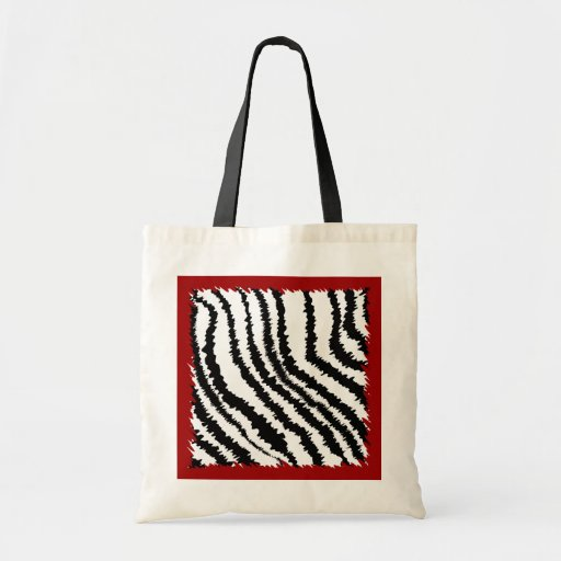 Black Zebra Print Pattern on Deep Red. Canvas Bags
