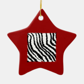 Black Zebra Print Pattern on Deep Red. Christmas Ornament
