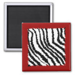 Black Zebra Print Pattern on Deep Red. Magnet