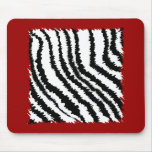 Black Zebra Print Pattern on Deep Red. Mouse Pad