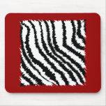 Black Zebra Print Pattern on Deep Red. Mouse Pads