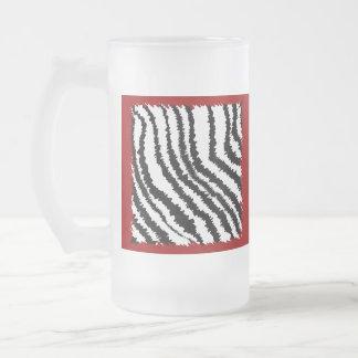 Black Zebra Print Pattern on Deep Red Coffee Mugs