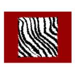 Black Zebra Print Pattern on Deep Red. Postcard