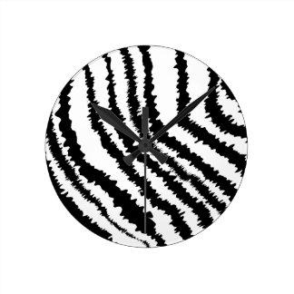 Black Zebra Print Pattern. Round Clock