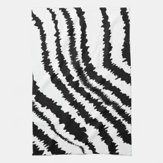Black Zebra Print Pattern. Tea Towel