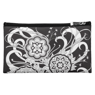black zen pattern with sends them and leaves makeup bag