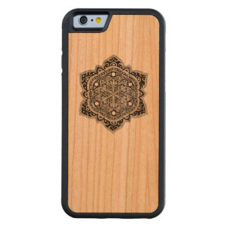 Black Zendala Flower of Life Carved Cherry iPhone 6 Bumper Case