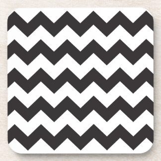 Black zig zags zigzag chevron pattern coaster